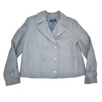 Talbots Jacket Peacoat Size 10 Double Breasted Light Blue 100% Cotton Women's