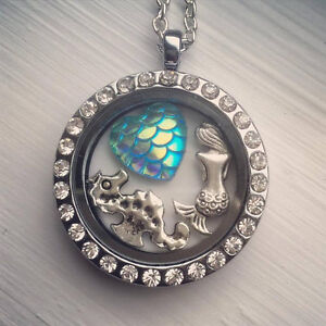 Mermaid Locket Necklace glass locket crystal seahorse nautical themev