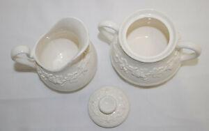Wedgwood Embossed Queensware Cream on Cream Sugar Bowl and Creamer  S8836
