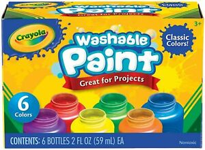 Crayola Washable Paint for Kids Toddler Baby Finger Craft Pack of 6 Paints Set