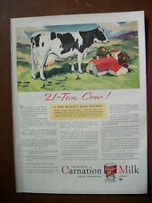 VTG Magazine Carnation Milk Ad 1942 Orig Print Carnation 21 Ton Cow Farm Dairy