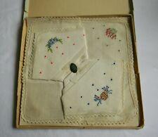 3 Vintage Handkerchiefs In Original Box-Pure Irish Linen W/Embroidered Flowers