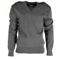 Original Austrian army pullover Jumper commando grey wool V-neck sweater NEW
