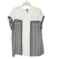 Chico's Women's Top sz 3 XL Black White Stripes Dots Polyester Business