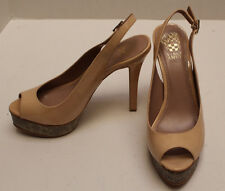New in box Womens Vince Camuto  Petal Tan Color High Heel Platform Shoes