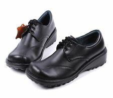 Black New Genuine Leather Lace Up Womens Wedges Heels Oxfords Shoes Size 9