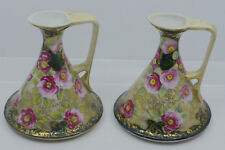 MATCHING PAIR OF HAND PAINTED NIPPON EWERS, PITCHERS FLORAL DECOR, MORIAGE, GOLD