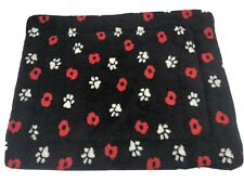 FLEECE DOG OR CAT MAT IN BLACK - MACHINE WASHABLE MEDIUM 37' X 29' COSY DOG BED