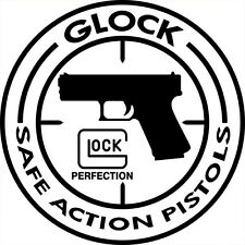 Autocollant sticker rond blanc GLOCK SAFE ACTION PISTOLS ( PERFECTION 26 17 19