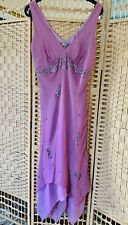 Silk Dress Gharani Strok Lilac Pink Asymmetric Hem Embellished Lined Size 14 UK