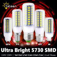 Ultra Bright 5730 LED Corn Bulb Lamp Light Warm Cool White E27 B22 GU10 G9 E12