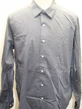 DKNY Slim Fit Natural Stretch Dress Shirt 16 1/2 34/35 Gray 100% Cotton Men Lg