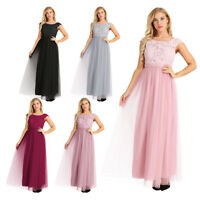 Women's Floral Lace Tulle Bridesmaid Dress Low Cutout Back Long Evening Gowns