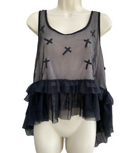TOPSHOP Mall Goth Top 14 UK Black Blouse Sheer Ruffle Mesh Emo Alt Witchy Grunge