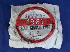 BOLLO 1961 ACI TASSA CIRCOLAZIONE MOTOCICLI LEGGERI VESPA SCOOTER MOTO EPOCA