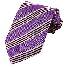 Men's Purple White Ivory Striped 100% Silk Jacquard Classic Tie Necktie JP107