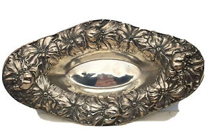 "Unger Sterling ~ POPPIES REPOUSSE BOWL ~ 12-1/2"" Long"