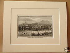 EDINBURGH FROM REST AND BE THANKFUL ANTIQUE MOUNTED ENGRAVING c1890 10X8 V RARE