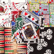"Games Casino Jackpot 30 4"" fabric squares quilt cotton quilting cards dice"