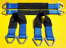 "(4) 24"" Axle Straps HD Blue Tie Down f Race Car Hauler Tow Truck 4x4 Off Road"