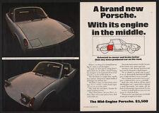 1969 Silver PORSCHE 914 Mid-Engine Convertible Sports Car 2 Page VINTAGE AD