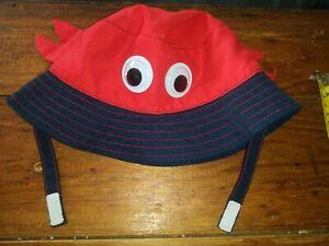 Guc Jumping Beans red google eye crab hat sun beach hat boys 6-18 mo 🦀 🌞 🌴