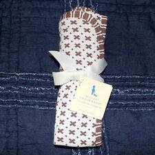 POTTERY BARN KIDS cross knit Stroller crib Blanket reversible brown 30 x 40