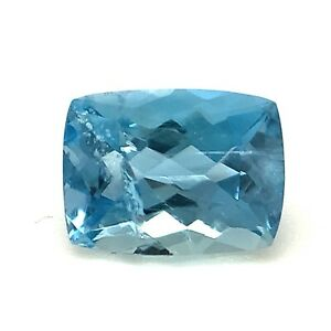 1.38ct Blue Aquamarine, Cushion, Portuguese cut SI1, Natural Gemstone *Video*