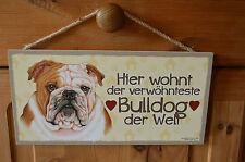 Türschild Tierschild Schild Tafel Holzschild Deko Bild Wandbild ♥ Bulldog Hund