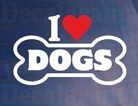 I LOVE/HEART DOGS Novelty Bone Car/Van/Window Sticker Ideal for Dog Owners