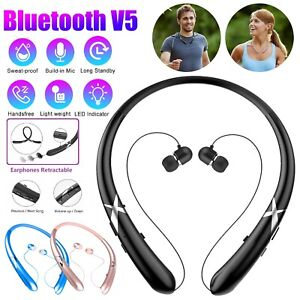 Bluetooth 5.0 Neckband Earbuds Headset Wireless Stereo Mic Earphones Retractable