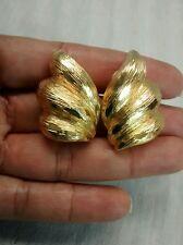shell brush clip on earrings Pretty vintage St.John gold tone