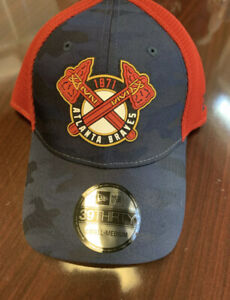 NEW W STICKER - Atlanta Braves New Era 39Thirty New Logo Hat -Small/Med-MSRP $34
