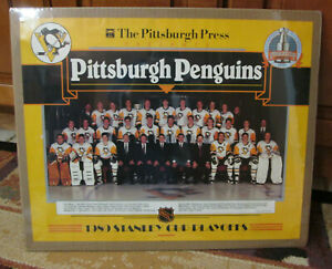 VINTAGE PITTSBURGH PENGUINS TEAM PHOTO POSTER 1989 STANLEY CUP PLAYOFFS RARE