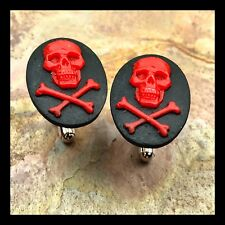 New Cufflinks Red Black Skull Crossbones Modern Resin Cameo Silver Setting H30
