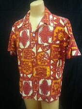 Vtg 60 70s RARE Men Hawaiian Shirt Pyschedelic Orange Red Yellow Hippie Wild M