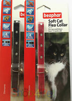 Beaphar DIAMANTE Soft Cat Flea Collar, RED or BLACK - Up to 4 Months Protection,
