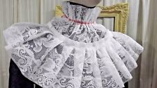 White lace Jabot  COLLAR pirate Gothic Lolita Victorian Steampunk red tie 4923