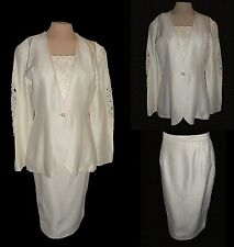 3-PC Suit: Skirt Blazer Dickie, Scott McClintock (Wedding) Ivory Lace Vintage 10