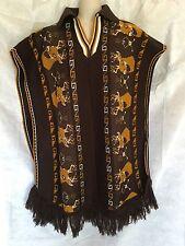 Vintage Brown Mustard Reindeer Deer Stag Cabin Poncho Kitch Sweater Blanket