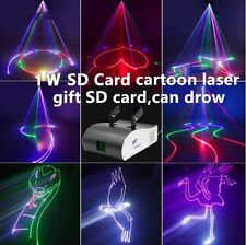 1W RGB DMX Full Color SD card ILDA Animation Laser Light DJ Stage Effect 1000mW