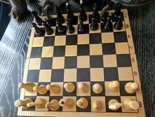 VINTAGE old SOVIET UNION USSR RUSSIAN WOODEN WOOD Chess set Wooden board 29 x 29