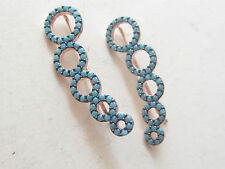 TURKISH JEWELRY TURQUOISE ROSE GOLD 925 STERLING SILVER EAR CUFF CIRCLE EARRINGS