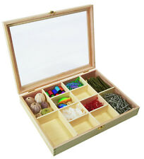 NEW Wooden 12 Division Compartment Collectors Display Shadow Box - Acrylic Lid