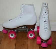 ChicagoWomen's Size 8 Quad Roller Skates White/Pink EUC Rink Style Boot Wheels