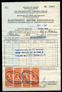 Weeda Canada 1935 Electricity Meter Certificate, $93.00 fees, Regina/Saskatoon
