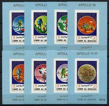 277/SPACE RAUMFAHRT 1972 Umm al-Qiwain Apollo 922-29 B Einzelblocks Imperf MNH