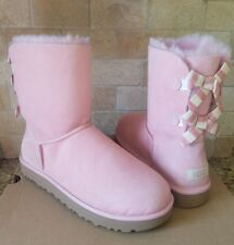 UGG SHORT BAILEY BOW STRIPE PINK BLUSH SUEDE SHEEPSKIN BOOTS US 11 WOMENS