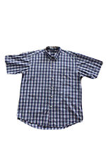 Nautica Mens Size XL Short Sleeve Button Up Checked Shirt 80's two ply cotton