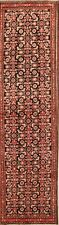 One-of-a-kind Vintage Allover Black Hamadan Hand-Knotted Runner Rug 4x13